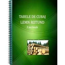 Tabela/Tabele de Cubaj Lemn Rotund, 3 zecimale, SPIRALATĂ, fiecare filă plastifiată